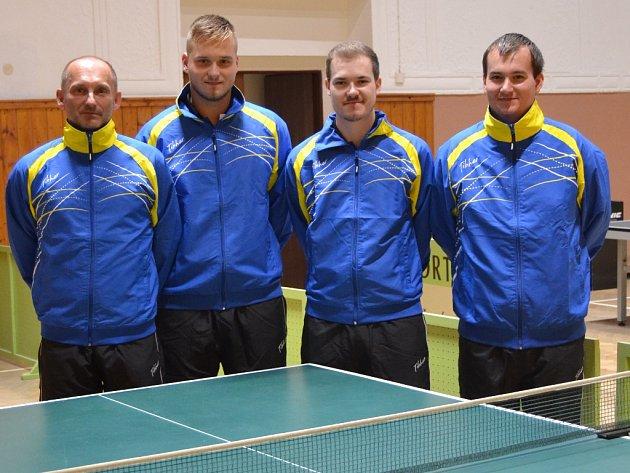 Stolní tenisté Sokola Studená: zleva Igor Smola, Ondřej Doležal, Filip Korbel a Miloslav Mádr.