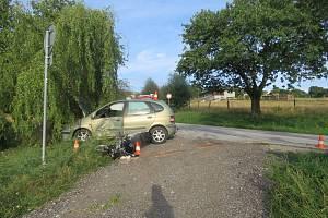 Vážná nehoda motocyklisty.