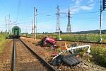 Nehoda na železničním přejezdu v Hrdějovicích.