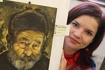 Miluše Vítečková se svým portrétem Wericha.