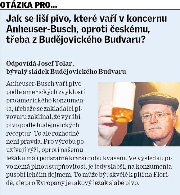 Josef Tolar kvaření piva.