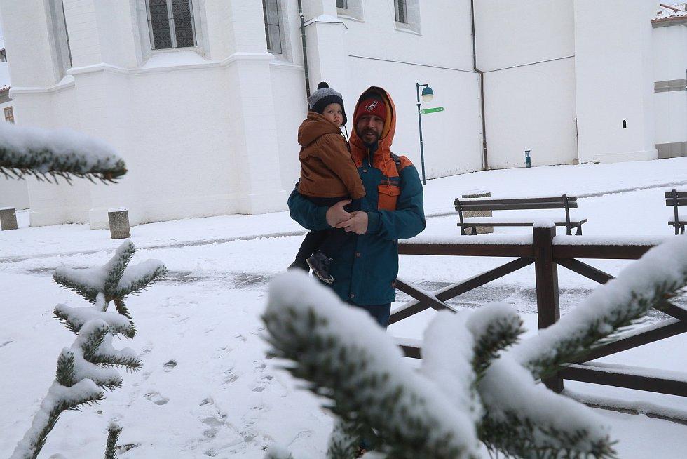 Sníh v Českých Budějovicích v pondělí 8. 2.