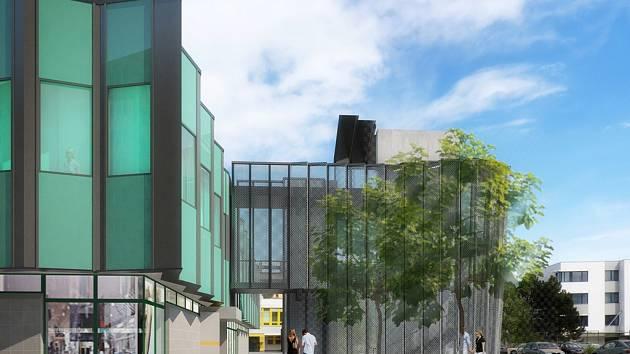 Novou dominantou obchodního domu Družba na českobudějovické Pražské třídě budou schody z podzemního parkoviště do kanceláří v prvním patře, jak ukazuje vizualizace.