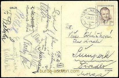 Při pátrání po stopách filmu Plavecký mariáš jsme narazili na internetové burze na draženou pohlednici, posílanou zOrlíku do Šumperku vzáří 1951.Jsou na ní krásně vidět podpisy  štábu. Poznáte podpisy kameramana Ferdinanda Pečenky iherců.
