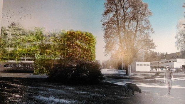 Dům pro více než 450vozidel má učeskobudějovické sportovní haly vyrůst do pěti let. Stavba vyjde zhruba na 70milionů korun. Železobetonovou konstrukci přikryje speciální síť, která poroste zelení.