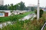 Déšť opět potrápil jižní Čechy. Hladina Dobrovodské stoky u Terna se opět díky přívalovým deštům zvedla.