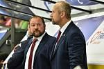 Rozpaky na českobudějovické střídačce. Vpravo hlavní trenér Jaroslav Modrý, vedle něj asistent Roman Fousek.