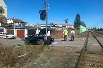 Nehoda na železničním přejezdu v Českých Budějovicích.