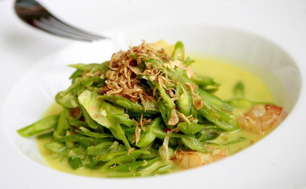 Tumis Buncis + Nasi Putih, restované zelené fazolky s krevetkami+rýže