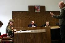 Alšova jihočeská galerie prohrála soud se svou bývalou mluvčí Ivou Johnovou. Podle rozsudku je výpověď, kterou dostala pro nadbytečnost, neplatná. Galerie se však může odvolat ke krajskému soudu. Na snímku vypovídá jako svědek Jiří Hebík (vlevo).