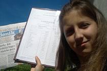 Snímek číslo 4: Barbora Vavřinová, 12 let, 6. B, ZŠ a MŠ Lišov