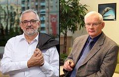 Dosavadní ředitel Biologického centra Miloslav Šimek (vpravo) a vedoucí Laboratoře molekulární ekologie vektorů a patogenů na Parazitologickém ústavu Biologického centra a někdejší rektor Jihočeské univerzity Libor Grubhoffer (vlevo).