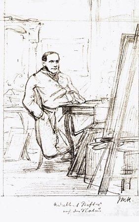 Adalbert Stiftter na kresbě J. M. Kaisera kolem roku 1850.