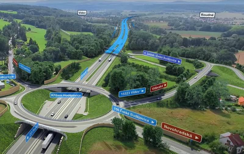 Vizualizace D3. Křížení Hrdějovice. Dálnice tam povede pod okružní křižovatkou a také pod novým železničním mostem.
