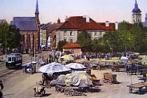 Senovážné náměstí v Českých Budějovicích před rokem 1914.