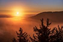 Svítání v Novohradských horách - Kraví hora.