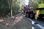 Odstraňování následků nehody uzavřelo silnici mezi Třeboní a Majdalenou na několik hodin.