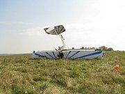 Havarované letadlo na letišti v Plané u Českých Budějovic