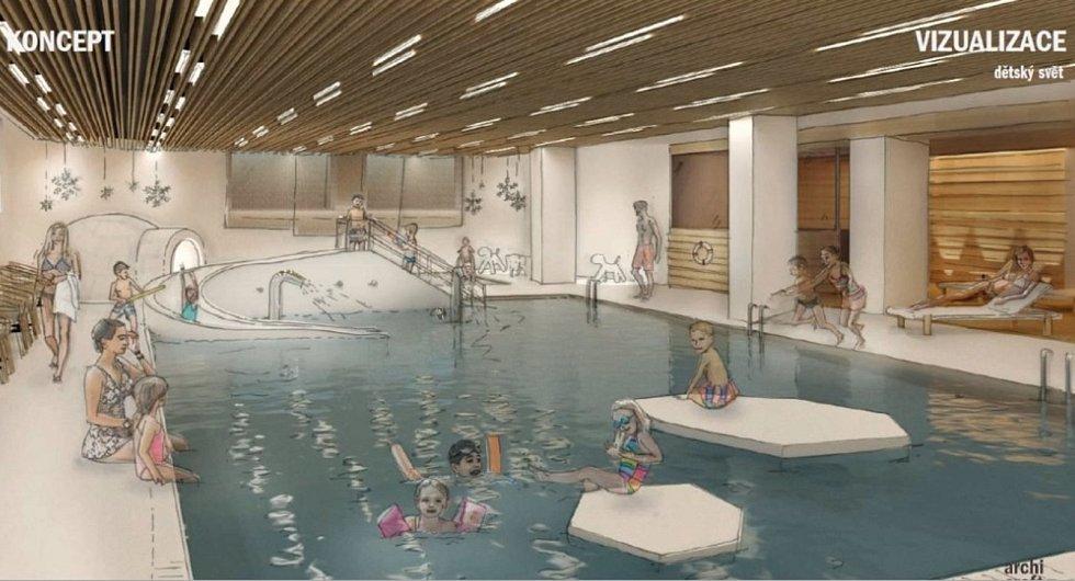 Vizualizace projektu Dětský svět u budějovického bazénu.
