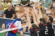 Česká volejbalová reprezentace při posledním utkání na ME s Německem