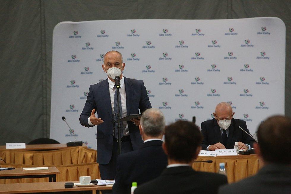 Řeční kandidat na hejtmana Martin Kuba.