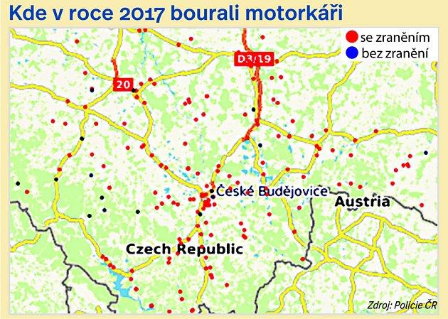 Kde na jihu Čech bourali motorkáři.