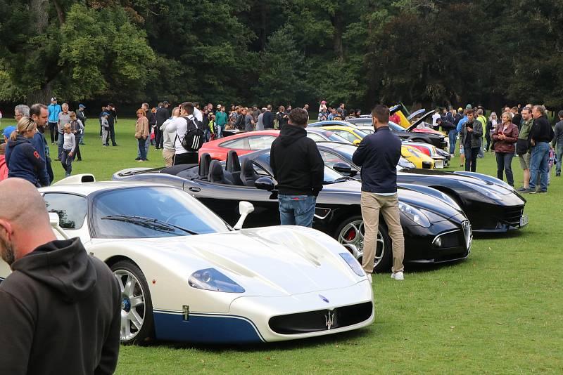 Výstava sportovních automobilů v parku zámku Blatná zaujala stovky návštěvníků.