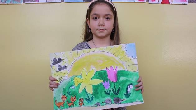 Žáci 2.A lišovské základní školy kreslili jaro. Na snímku obrázek Amélie Křenkové.
