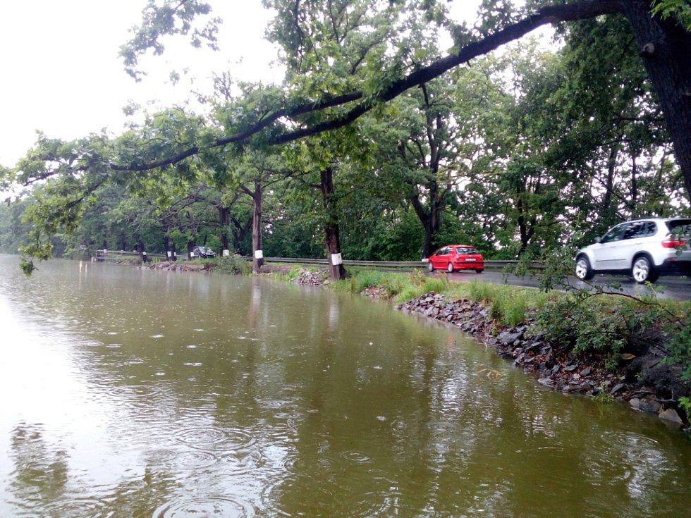 Déšť 28. června 2020 zvedl hladinu i v Dubenském rybníku u Dubného na Českobudějovicku.