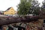 V noci na čtvrtek 24. 6. 2021 způsobila velké škody na Českobudějovicku další ze série bouřek. Na snímku poničený hřbitov v Pištíně, kam padla vyvrácená lípa.