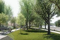 Radnice chystá revitalizaci parku v Dukelské ulici v Českých Budějovicích na rok 2022. Na snímku budoucí podoba. Vizualizace ateliér Rusina a Frei.