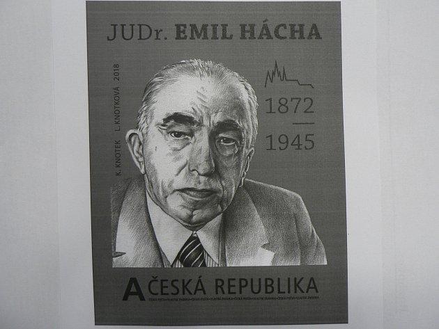Známka, jejíž představení se chystá 30. listopadu, připomene prezidenta JUDr. Emila Háchu. Autory známky jsou K. Knotek a L. Knotková.