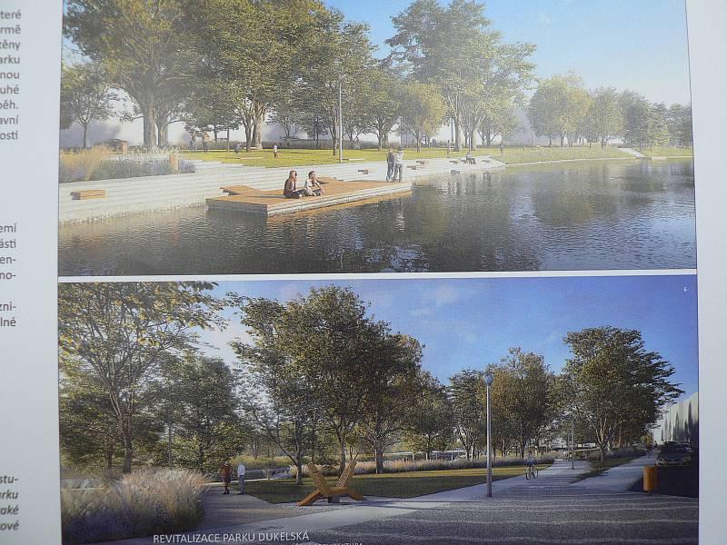 Jeden z návrhů podaných do architektonické soutěže na novou podobu parku Dukelská v Českých Budějovicích.