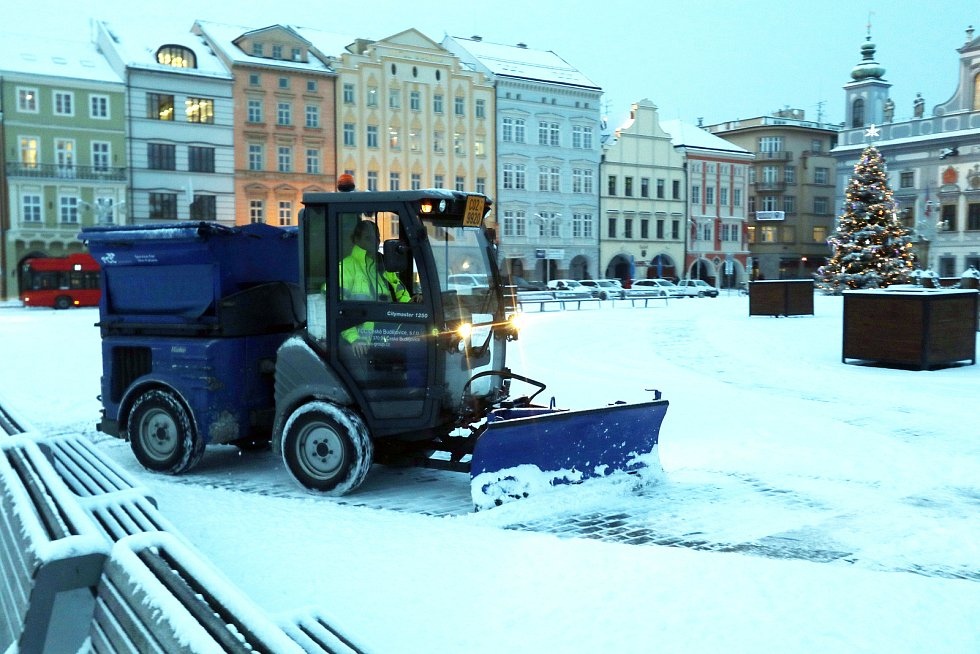První snížek v Českých Budějovicích.