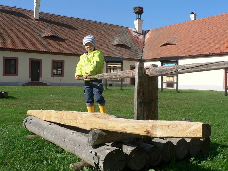 Lesnický den na zámku Ohrada v Hluboké nad Vltavou nabídl poznání náročné práce lesníků. Práci voraře si vyzkoušel i mladý člen rodiny z francouzského Troyes, která patřila mezi návštěvníky akce.
