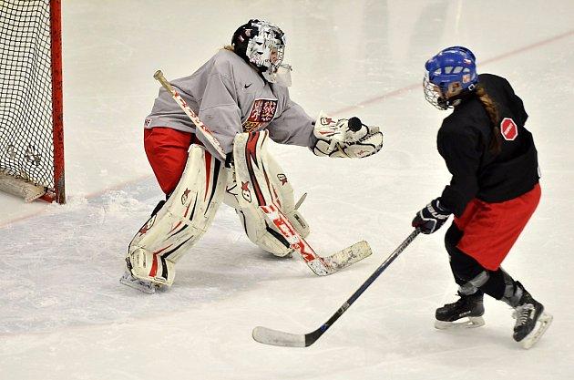Hráčky české reprezentace trénovaly v Hokejovém centru Pouzar