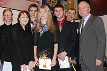 Zprava sponzor akce Franz Huber, prezident Rotary - klubu Franz Schreiner a Pavel Bicek.