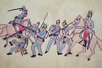 Kresba z válečného deníčku Františka Bušty.