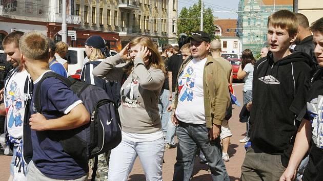 Fanoušci ostravského Baníku přijeli již před polednem do Českých Budějovic.
