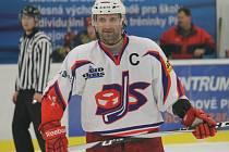 Kapitán David servisu Luboš Rob se může smát, Soběslavi dal dva góly a na další přihrál.