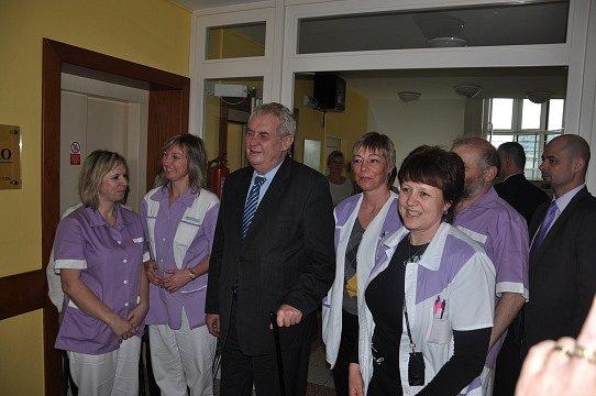 Tábor, G-centrum. Návštěva prezidenta Miloše Zemana.