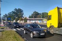 Opravy budějovické ulice Na Dlouhé louce.