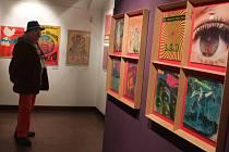 Výstava Psychedelia nabízí do 28. června v Alšově jihočeské galerii psychedelické plakáty ze San Franciska, rockové plakáty české i zahraniční, obaly LP, časopisy a knihy. Asi 1000 exponátů, nasbíral je Zdenek Primus (na snímku).