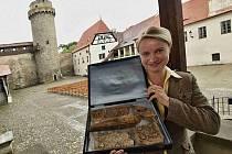 Více než 80 let byly zbytky truhly, ve které Karel IV. uchovával ostatky svatých, ukryty v oltáři kostela v Kraselově na Strakonicku. Letos 6. května byly vyjmuty. Nyní je vystavilo Muzeum středního Pootaví. Na snímku etnografka Marie Kotlíková.