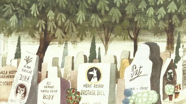 Nakladatelství Baobab vydalo dvě knihy, které nakreslil Miroslav Šašek: To je Paříž a To je Londýn. Snímek z knihy o Paříži, psí hřbitov blízko mostu Pont de Clichy.