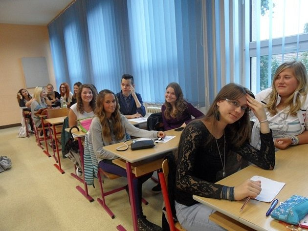 První školní den na Obchodní akademii Husova 1 v Českých Budějovicích.