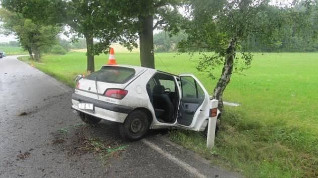 Předjíždění na mokré silnici, nepoužití bezpečnostních pásů a náraz do stromu. Tuto kombinaci nepřežil 25letý muž poblíž Srubce.