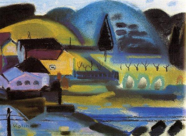 Zemřel malíř Jaroslav Koliha. Na snímku jeho obraz Ujezu II, 1958, pastel, papír.