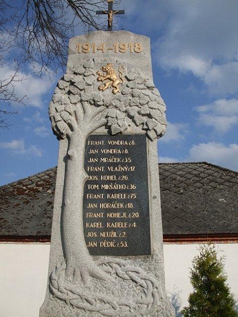 Na pomníku vHostech je ijméno Josefa Kohela.