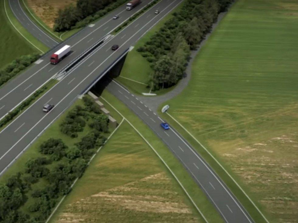 Vizualizace úseku dálnice D3 kousek od Roudného.